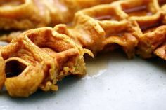 Favorite fall  weekend breakfast! Pumkin waffles with buttermilk syrup!!! Bacon on the side. Perfection-- sweet  autumn in your mouth!