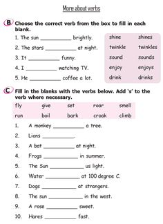 Worksheets English Test Grade  2 grade 2 grammar lesson 11 verbs 4 lessons 1 19 12 more about 3
