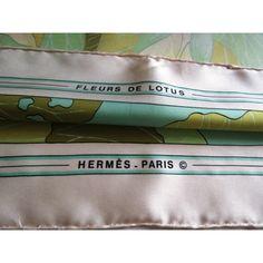 carré hermès fleurs de lotus,Christiane Vauzelles hermès 1976,hermès silk  scarf,seta 8d5343fedd7