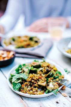 Recipe: Honey Roasted Sprouts with Lentils-Quinoa Pilaf | Kitchn Easy Vegetarian Dinner, Healthy Dinner Recipes, Healthy Snacks, Vegetarian Meals, Meatless Recipes, Healthy Options, Lunch Recipes, Lentils And Quinoa, Quinoa Pilaf