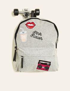 sac à dos badges brodés jersey gris chiné
