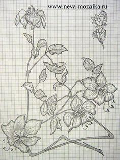 цветы Flower Wall Design, Fashion Drawing Dresses, Fairy Crafts, Punch Needle, Irish Crochet, Flower Patterns, Pattern Flower, Line Drawing, Embroidery Patterns