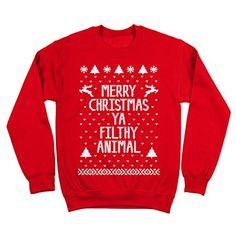 Merry Christmas Ya Filthy Animal Mens Sweatshirt Medium Red