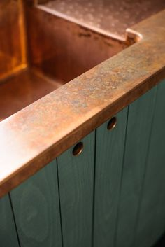 """The integrated copper sink. """"When the window is open and you are standing at the sink, this kitchen feels intimate and cozy, yet still grand and authentic,"""" says Parker. Copper Farmhouse Sinks, Copper Kitchen, Farmhouse Style Kitchen, Rustic Kitchen, New Kitchen, Kitchen Ideas, Kitchen Tools, Kitchen Gadgets, Copper Countertops"""