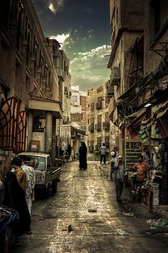 A typical city street in the old section of Jeddah, Saudi Arabia