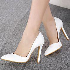 Cheap Fashion Pointed Closed Toe Stiletto Super High Heels White PU Basic Pumps