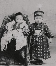 Little boy and baby in kimono. Old Japan