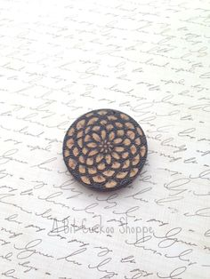 Wooden Lotus Pendant Woodburned Lotus Pendant by AbitCuckoo
