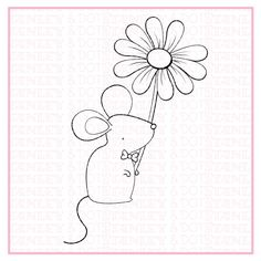 Flower  cute  mouse  digital stamp  birthday  stamp