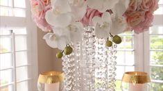 Party Centerpieces, Diy Wedding Decorations, Decor Wedding, Fishbowl Centerpiece, Dollar Tree Centerpieces, Chandelier Centerpiece, Quinceanera Centerpieces, Centerpiece Ideas, Dollar Tree Decor