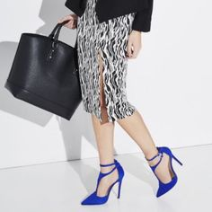 Cobalt Blue Pumps T strap design and ankle strap perfect blue statement heels. JustFab Shoes Heels