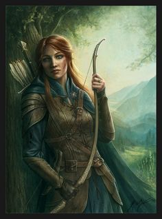 Dryad huntress with huntress bow, sword, and leather armor