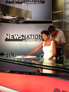 MSNBC's Tamron Hall preparing to broadcast.