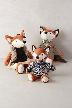 Anthropologie - Fox Family Stuffed Animal, getting the dad for Eli, love that suit & tie Fox Nursery, Woodland Nursery, Woodland Theme, Fox Stuffed Animal, Stuffed Fox, Bebe Love, Book Gifts, Baby Boy Nurseries, Softies