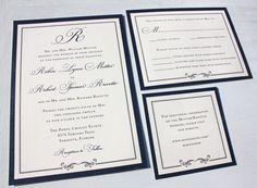 Formal Navy Blue Wedding Invitations with Monogram, Thick Border and Swirl Accent