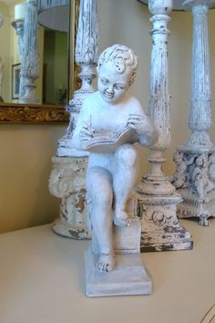 Vintage Shabby Statue Little Boy Reading by edithandevelyn on Etsy, $35.00