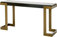 Angulus Console Table with dark smoked oak top.  Available in all standard paint finishes.