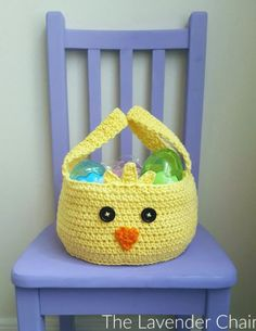 Chickadee Easter Basket Free Crochet Pattern - The Lavender Chair Crochet Crafts, Crochet Yarn, Crochet Hooks, Crochet Projects, Fabric Crafts, All Free Crochet, Crochet For Kids, Double Crochet, Single Crochet