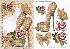 Pretty beige polkadot shoes with roses A5 on Craftsuprint - View Now!
