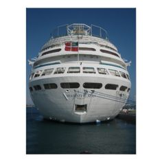 A poster with a closeup frontal photo of a cruise ship.