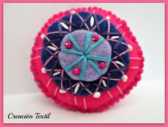 Felt brooch embroidery Mandala