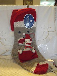 "Sock Monkey Knit Christmas Stocking with Sock Monkey Ornament 10"" x 21"" 2011 | eBay"