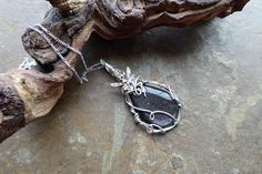 Fairy Goddess Pendant Silver Fairy Necklace Silver Obsidian