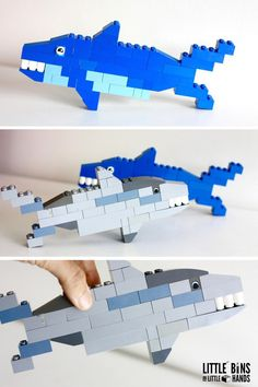Build one of the ocean's most fascinating creatures! Perfect for shark week or any study of the creatures of the sea. Lego Minecraft, Minecraft Buildings, Lego Design, Shark Week, Shark Shark, Whale Sharks, Lego For Kids, Diy For Kids, Manual Lego