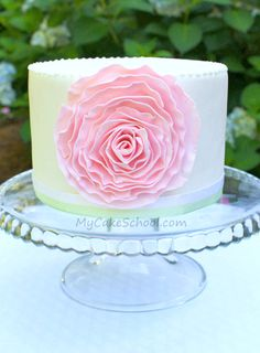 Fondant Ruffled Rose~ Blog Tutorial by MyCakeSchool.com