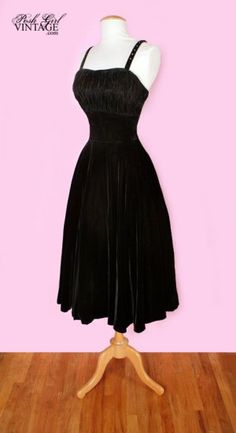 1950's velvet tea length dress