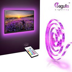 $47.99  - LED TV Backlight Megulla Bias TV Lighting Kit Precut USBPowered LED RGB Strip Light with Wireless Remote for HDTV PC Home Theater Desktop Monitor and moreWhite Universal *** Click on the image for additional details. (This is an affiliate link) #LightingCeilingFans