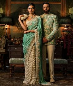 Sabyasachi I love the colors and materials. Party Wear Lehenga, Bridal Lehenga Choli, Sabyasachi Sarees, Ghagra Choli, Indian Groom Wear, Indian Wear, Indian Wedding Outfits, Indian Outfits, Indian Weddings