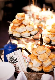Yes to towers of biscuits // Jen and Chris Creed Southern Weddings, Real Weddings, Five Course Meal, Southern Biscuits, Hors D'oeuvres, Wedding Gallery, Catering, Meals, Breakfast