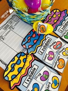 FREE Spring Syllable Sorting Center Activity! Just add a basket of eggs!