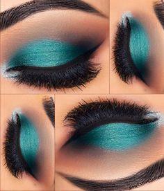 Gorgeous Makeup: Tips and Tricks With Eye Makeup and Eyeshadow – Makeup Design Ideas Teal Makeup, Cute Makeup, Skin Makeup, Eyeshadow Makeup, Teal Eyeshadow, Eyeshadow Ideas, Drugstore Makeup, Makeup Goals, Makeup Inspo
