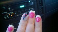 Pink and white cheeta nails