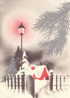 Vintage Art Deco Christmas Card - Cottage with Lamp Post Christmas Card Images, Vintage Christmas Images, Christmas Graphics, Old Christmas, Old Fashioned Christmas, Very Merry Christmas, Retro Christmas, Christmas Greeting Cards, Christmas Greetings