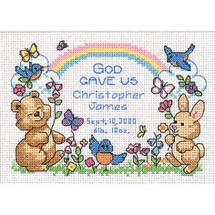 "Dimensions God's Babies Birth Record Mini Counted Cross Stitch Kit-7""X5"""