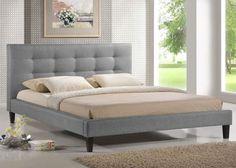 Platform Bed Frame Queen Size Grey Linen Headboard Modern And Minimalist NEW #WholesaleInteriors #Modern