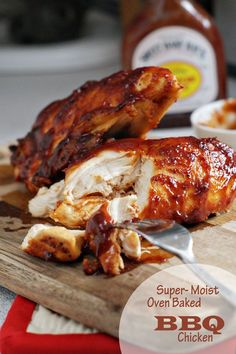 Super Moist Oven Baked BBQ Chicken Breast - try in crockpot Think Food, I Love Food, Good Food, Yummy Food, Oven Baked Bbq Chicken, Chicken Tacos, Bbq Sauce Chicken Marinade, Moist Chicken, Chipotle Chicken