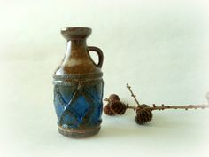 Strehla bottle vase/krug 1302 with blue glze and by Cherryforest