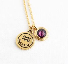 Personalized Zodiac Necklace With Birthstone Charm, Astrology Pendant, Horoscrope Necklace, Birthday Month, Gift For Her, Zodiac Jewelry by…