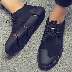 High quality leather casual shoes Fashion Breathable Sneakers fashion flats is part of Mens fashion casual shoes - AutumnPattern Type SolidFit Fits true to size, take your normal size Mens Fashion Casual Shoes, Fashion Flats, Sneakers Fashion, Men Fashion, Men Casual, Mens Casual Sneakers, Trousers Fashion, Fashion Outfits, Black Leather Shoes