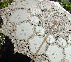 (via Shabby Chic It / Lace-Parasols: Inez Elegant Parasol) Lace Umbrella, Lace Parasol, Vintage Umbrella, Under My Umbrella, Wedding Parasol, Sun Parasol, Antique Lace, Vintage Lace, Umbrellas Parasols
