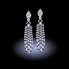 White diamond chandelier earrings 29.35 carats. 21st century: