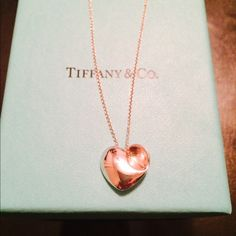 Authentic RARE T&Co. S.S. Full Heart NL- 16IN Authentic RARE Tiffany & Co. sterling silver full heart necklace. Kept in perfect condition. Comes with Tiffany blue pouch and box. White ribbon available if requested. Tiffany & Co. Jewelry Necklaces