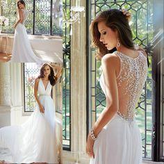 New 2014 Beaded Luxury Wedding Gown With Pearls Sexy V Neckline Court Train Chiffon Beach Wedding Dress
