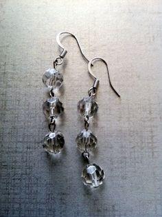 Clear Crystal Drop Earrings by simplyshanda on Etsy, $12.50
