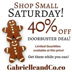 Support Small businesses this Saturday! Even if it's not mine (although I would love it if you do choose my shop!). #SmallBizSat  These Tiny Gingerbread Men Earrings look and smell like real gingerbread cookies! They'd make the perfect Christmas stocking stuffers this year!  Find them at www.amazon.com/handmade/GabrielleandCo or www.GabrielleandCo.etsy.com