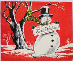 #483 50s Mid Century Snowman-Vintage Christmas Greeting Card